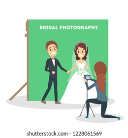 Wedding couple in the photostudio making photoshoot for memory. Happy beautiful bride and handsome groom. Various equipment such as camera. Flat vector illustration