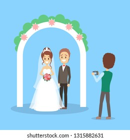 Wedding couple in the photostudio making photoshoot for memory. Happy beautiful bride and handsome groom. Flat vector illustration
