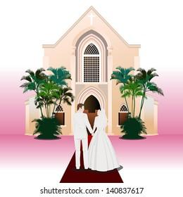 Wedding Couple (Pink Background)