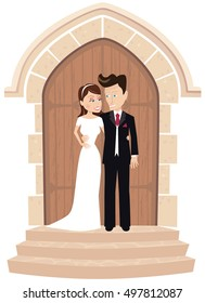 Wedding couple posing at church door.