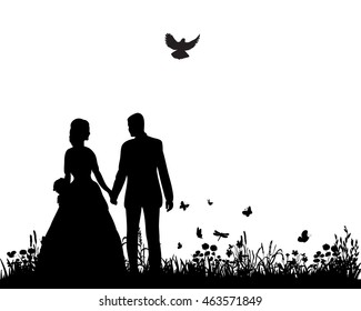 wedding couple silhouette groom and bride in nature,holding hands