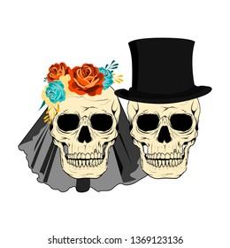 Wedding couple skulls invitation vector illustration. Just married