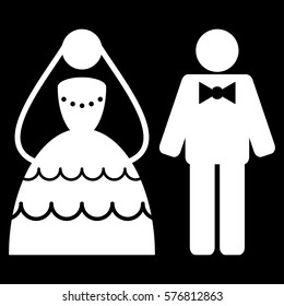 Wedding Couple vector icon symbol. Flat pictogram designed with white and isolated on a black background.