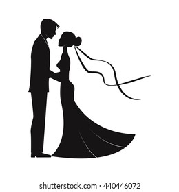wedding couples in silhouette. bride and groom.