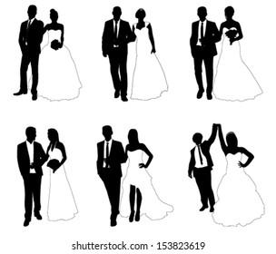 wedding couples - vector illustration