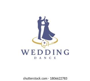Wedding dance logo design. Bridal party vector design. Bride and groom with wedding ring logotype