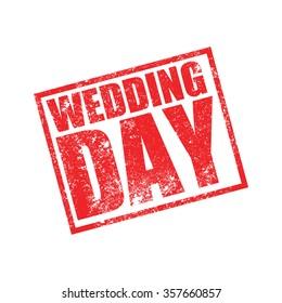 Wedding Day, Grunge Stamp, Vector