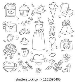 Wedding day icons. Various pictures of brides and wedding tools. Vector celebration dress for ceremony wedding, bridal cake illustration
