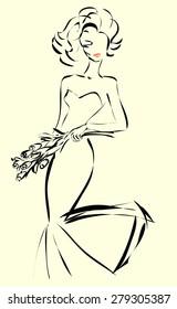 Wedding Day invitation with beautiful fiancee hand drawn illustration