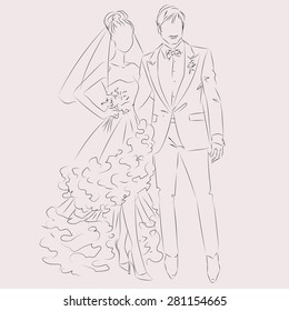 Wedding Day invitation with sweet couple vector illustration