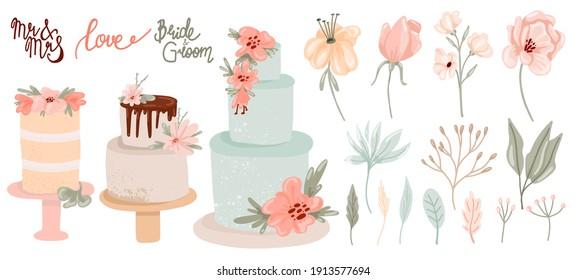 Wedding decor collection. Hand drawn feative cakes, leaves flowers and lettering in pastel colors, contemporary birthday delicious confectionery and botanical decoration, modern vector isolated set