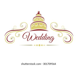 Wedding decoration with a wedding cake, vector illustration