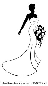Wedding design of bride in silhouette, the bride in a white bridal dress gown holding a floral bouquet of wedding flowers