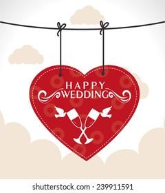 Wedding design over cloudscape background, vector illustration.