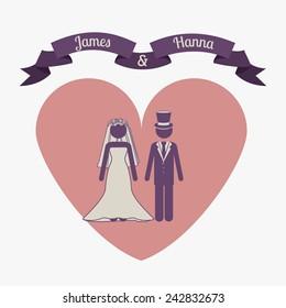 Wedding design over white background, vector illustration.