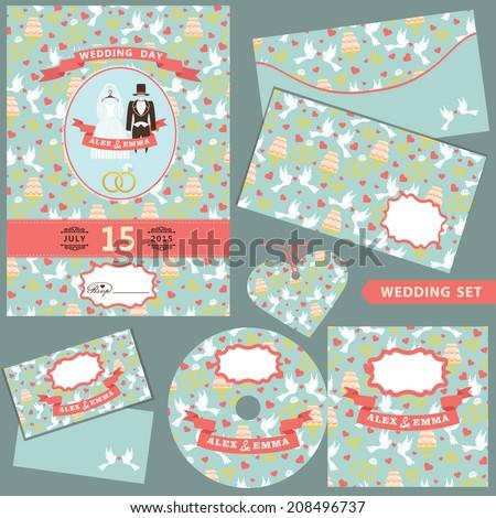 wedding design template set bridal dressgroom stock vector royalty