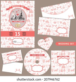 The wedding design template set with cartoon bride and groom on Retro bicycle