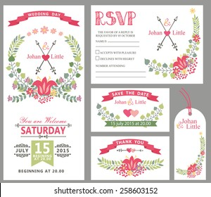 Wedding design template set with flowers,wreath frame,ribbon,border in Retro style .For Wedding  invitation,thank you,save date,tag,RSVP card.Vintage vector,floral decor.