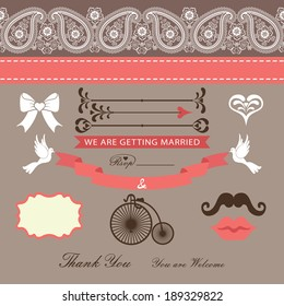 The wedding design template set  in Retro style