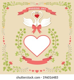 Wedding design template.Floral frame with hearts label, swans and ribbon. For invitation, card,cover,album.Vector illustration.Retro style,vintage.