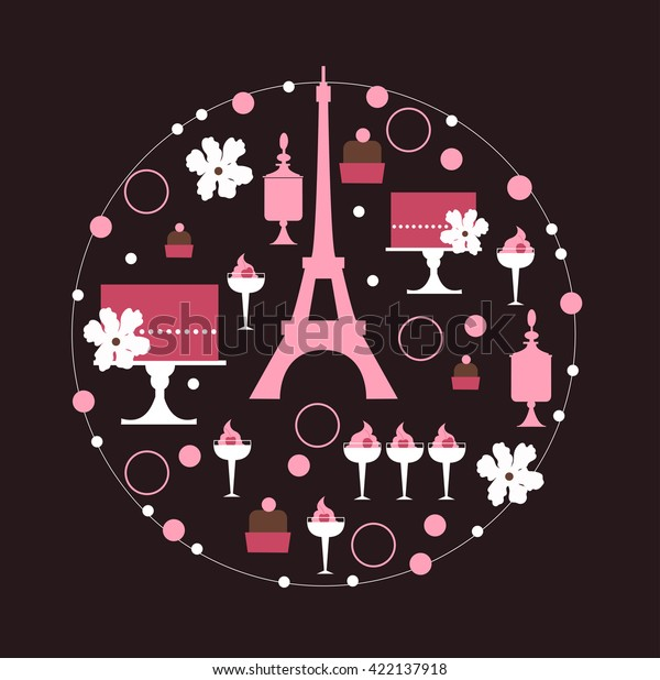 Marvelous Wedding Dessert Bar Cake Round Frame Stock Vector Royalty Download Free Architecture Designs Rallybritishbridgeorg