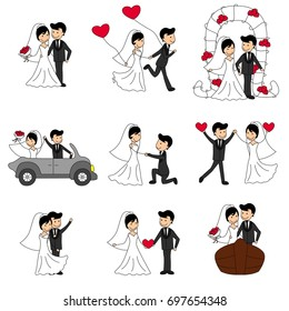 Wedding doodle couple, bride and groom  in a car with pink background