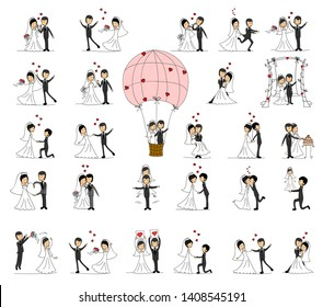 Wedding doodle couple in love. Vector illustration for greeting card, invitation and banner