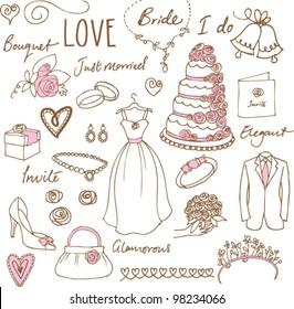 Wedding doodles sketchy vector illustration
