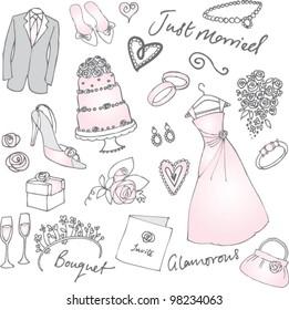 Wedding doodles vector illustration