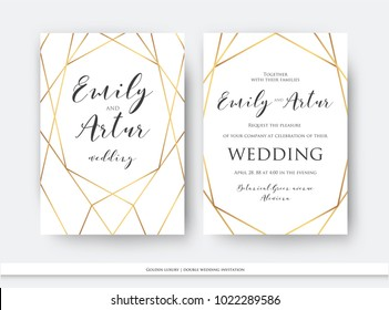 Wedding double invite, invitation save the date card elegant design with luxury vector golden foil geometrical, linear decorative frame, border. Beautiful abstract art concept. Trendy, modern template