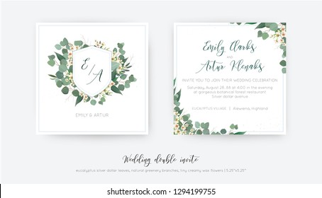 Wedding double invite, invitation, save the date card floral design with elegant monogram with silver dollar eucalyptus greenery leaves, green branches and creamy, wax flowers wreath. Trendy  template