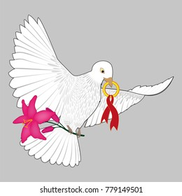 Wedding dove with flower and wedding ring