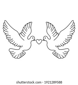 Wedding Dove With Love Icon Black White Coloring Page, Wedding Element, Pigeon Couple