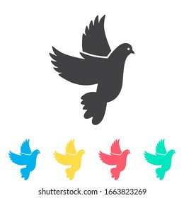 Wedding dove multi color icon set. Simple glyph, flat vector of wedding icons for ui and ux, website or mobile application
