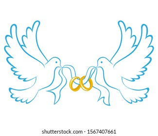 Wedding Dove With Ring Icon Color