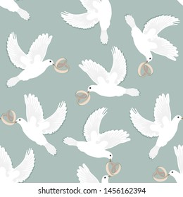 Wedding doves, white, flying, carrying wedding rings on skyblue background. Vector seamless pattern.