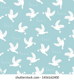 Wedding doves, white, flying, carrying hearts in beaks, love text, on skyblue background. Vector seamless pattern.