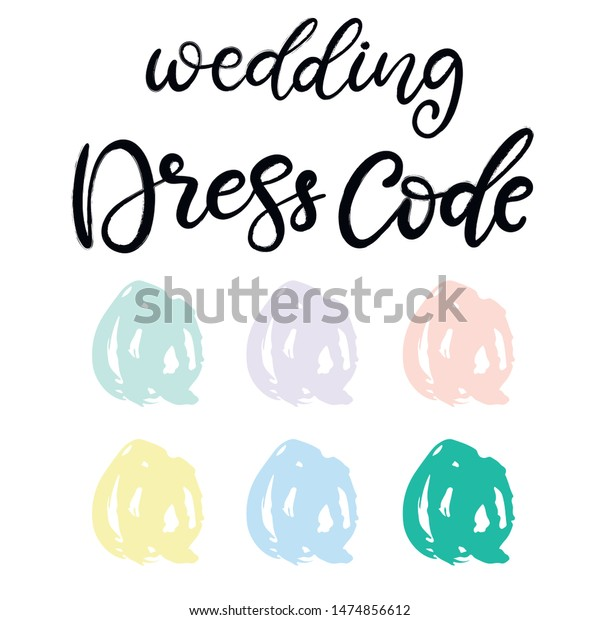 Wedding Dress Code Pastel Color Palette Stock Vector