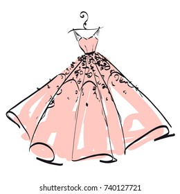 wedding dress design, pink and white,blue