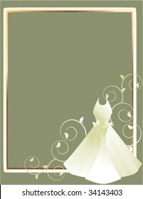 Wedding dress gray background 1 - vector
