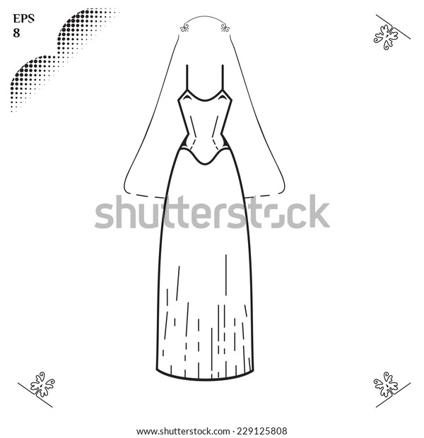 Wedding dress. Medieval dress. Clothing for celebration. Dress for Marriage. Graphics style. Outline image. Greeting Card. Elements for Wedding design. EPS 8