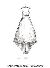 Wedding dress on a hanger, vector illustration