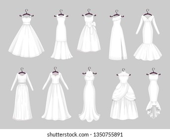 Wedding dress on hangers isolated icons set. Vector Save the Date greeting, engagement and marriage party invitation or bride tailor salon symbols of white wedding dress with veils and laces