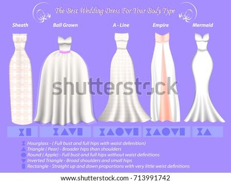 Wedding Dress Styles Different Body Type Stock Vektorgrafik