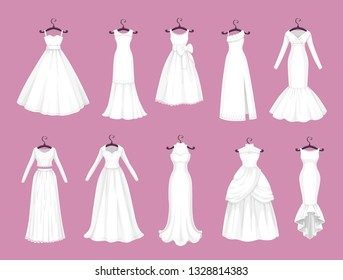 33c1b5bdb7b09 Wedding dress vector isolated icons set. Vector Save the Date greeting
