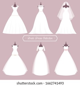 Wedding dresses in Different styles.Fashion bride Dress made in modern style.