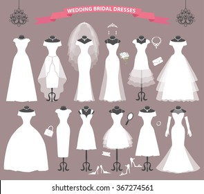 Wedding dresses in Different styles.Fashion bride white Dress  in modern flat style.Vintage vector.Bride dresses,accessories,silhouette.Holiday vector background.Bridal shower composition