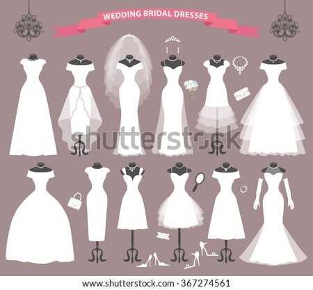 Wedding Dresses Different Styles Fashion Bride White Image
