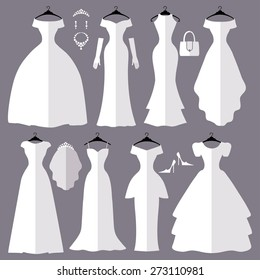 Wedding dresses in Different styles.Flat icons.Fashion bride Dress made in modern style.White dress ,accessories set ,silhouette.Holiday vector background.Bridal shower composition