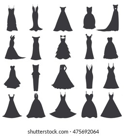 Wedding dresses. Wedding gown. Vector set. Bride clothing for wedding day.Isolated on white background.
